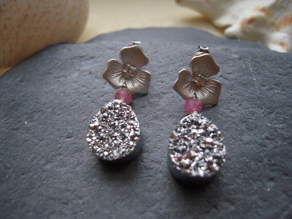 Sparkle Chalcedony Titanium Druzy Silver, Pink Sapphire & Flower Post Earrings