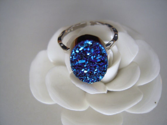 High Quality Druzy Blue & Sterling Silver Adjastable Ring