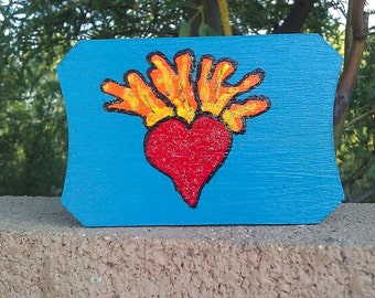 Sacred Heart Teal Trinket/Jewlery Box, Day of the Dead, Dia De los Muertos