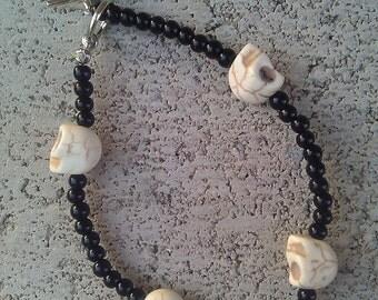 Bone White and Black Skull Calavera Bracelet, Day of the Dead, Dia De Los Muertos