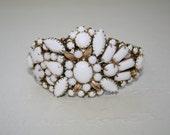 Milk Glass, Bridal White, Vintage Bridal Cuff