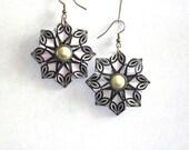 Origami Earrings - Handmade Origami Jewelry - Black and White Geometric Paper Jewelry