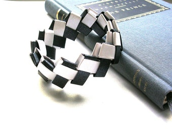 Origami Jewelry   -  Black and White Paper Bracelet - Paper Anniversary Jewelry