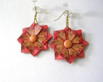 Origami Earrings - Orange and Brown Paper Earrings - Unique Jewelry - Paper Jewelry - Origami Jewelry - Paper Anniversary Gift
