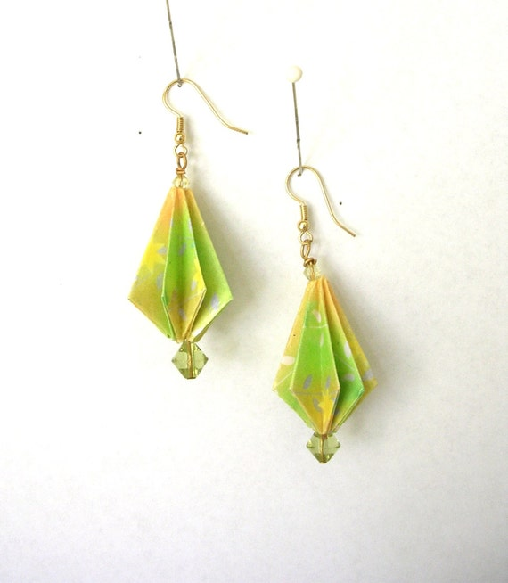 Origami Paper Earrings - Green and Yellow Pinecone Fold Paper Jewelry