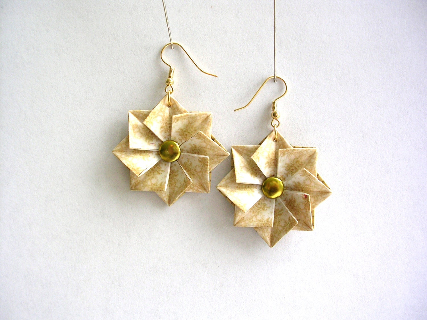 origami earrings white gold paper jewelry paper