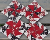 Coasters- Set of Four Fabric Mug Rugs Pinwheels