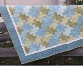 Baby Quilt- Boy Blue Green Cozy Flannel - Woolies Line Flannel