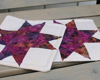 Potholders- Quilted Batik Star Blocks