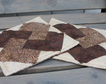 Potholder- Card Trick Quilt Block Brown/ Gold