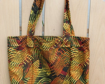 Tote- Xtra Medium Green, Yellow, Red, Black Wild Print