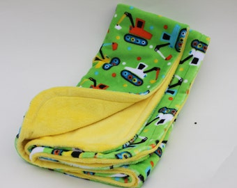 Baby Blanket Minky Boy Trucks Green Yellow Handmade