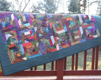 Lap Quilt - Beginners and Enders- Batik- Brights - Log Cabin Variation - Handmade Quilt