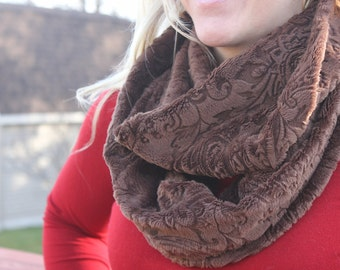 Infinity Scarf - Handmade- Minky-  Loop Scarf - Chocolate Brown Paisely Minky- Cozy Super Soft Scarf-