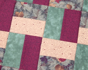 Christmas Table Runner - Square - Red Green Tan - Leaves and Pinecones - Handmade Quilt