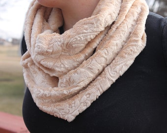 Infinity Scarf - Handmade- Minky-  Loop Scarf - Carmel Paisely Imprinted Minky- Cozy Super Soft Scarf-