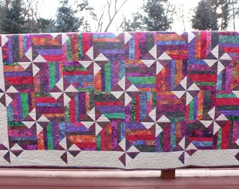 Twin Quilt - Pinwheels and Rails- Bright Batik Prints - Handmade Quilt-