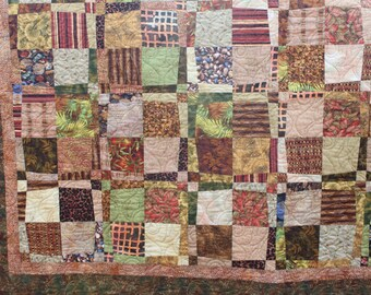 Lap Quilt - Safari Quilt - Scrappy Jungle Prints - Handmade Quilt- Long Arm Quilted