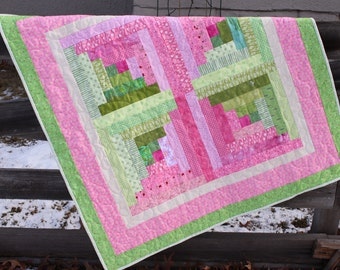 Baby Quilt - Strawberry Lime Log Cabin- Sent with Love Moda Fabric Line - Flannel Backing