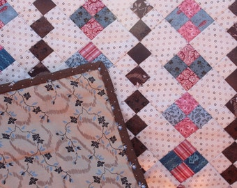Wall Hanging - Reproduction Row- Civil War Reproduction Fabrics -Brown Pink Blue Cream Wallhanging- Handmade Wall Quilt