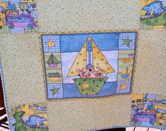 Baby Quilt- Flannel Bears and Puppies in a Sailboat - Animal Quilt - Handmade Quilt-