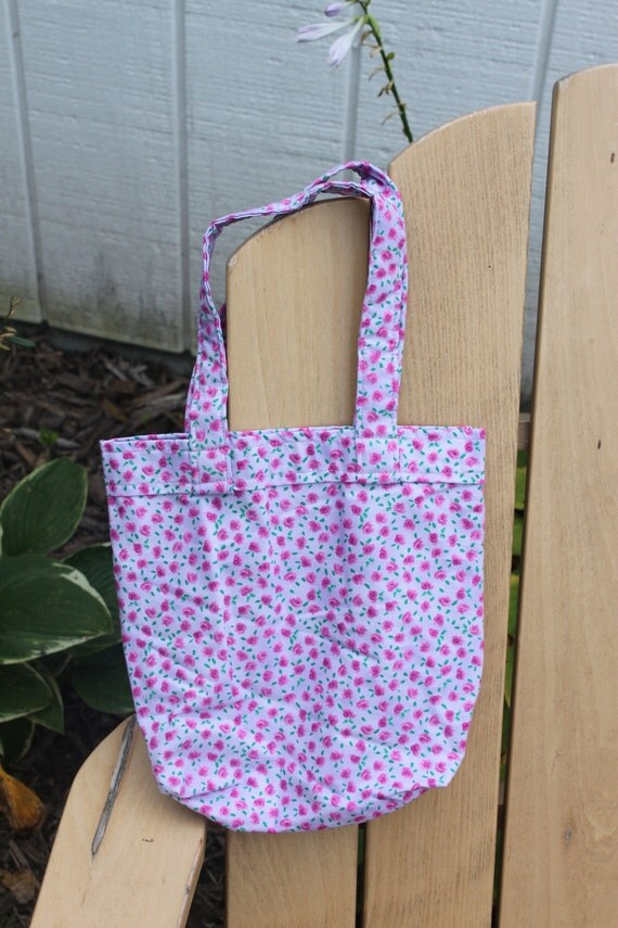 Girls Tote Bag- Purple with Pink Flowers