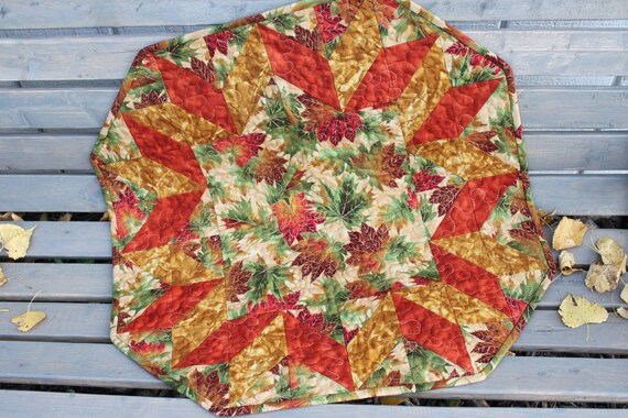 Fall Table Runner - Fall Leaves - Orange Green Gold Brown Round