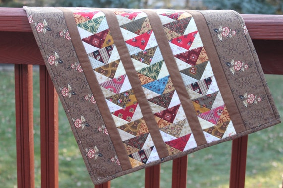 Wall Hanging - Flying South for the Winter - Flying Geese Variation- Civil War Reproduction Fabrics -Brown Red Blue Wallhanging
