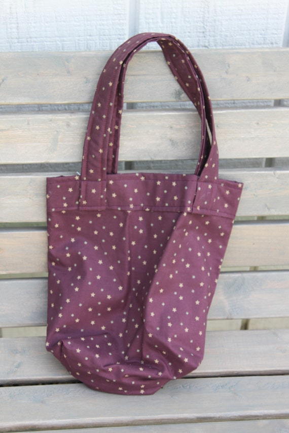 Girls Tote Bag- Purple Gold Stars- Size small Tote- Girls Purse