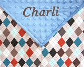 Personalized Lovey or Security Blanket w/Free Ribbon Tags - Minky Dot and Argyle Pattern Fabric