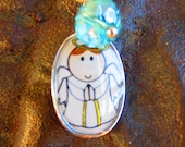 Guardian Angel picture clear glass enamel pendant silver plated necklace