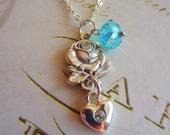 Rose Heart aqua stone Neckclace