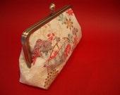 Handmade Vintage Japanese Kimono Fabric 8 inch kisslock Clutch/Purse - Japanese garden