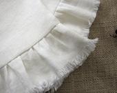 Ruffled White Linen Hand Towel Natural Napkin Dish Towel, Set of 2