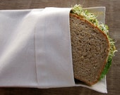 Organic Reusable Medium Sandwich Bag Set of 1 -- Organic Unbleached Muslin Double Layer  Eco Friendly