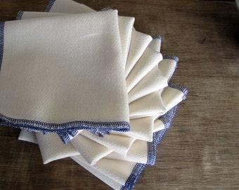 Organic Reusable Unpaper Towel Organic Birdseye Cotton Unbleached with Purple Edges Eco Friendly -- Set of 24