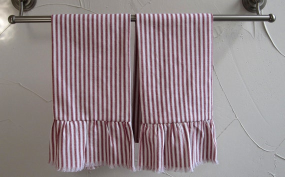 Ruffled Red Ticking  Dish Towels Hand Towels Set of 2