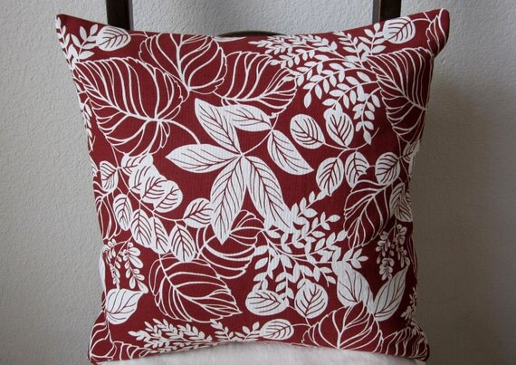 SALE - Red White Pillow Cover Flora Decorative Set of 2  18 X 18