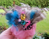 Whimsical Mermaid Princess with Nautical Seahorse Pink Tulle Hair Piece