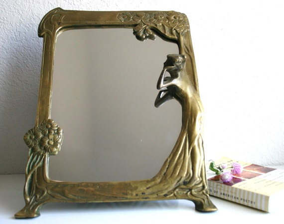 Art Nouveau Brass Table Mirror