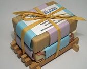 2 Soap Bars in a Wodden Soap Dish - Gift Set