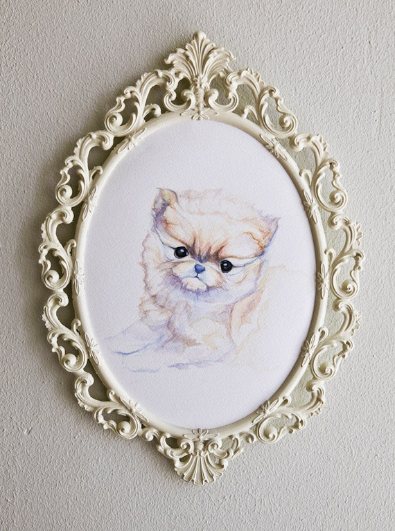 Adorable Pomeranian Puppy Rainbow Watercolor Painting 'Teddy' in Ornate Vintage Frame