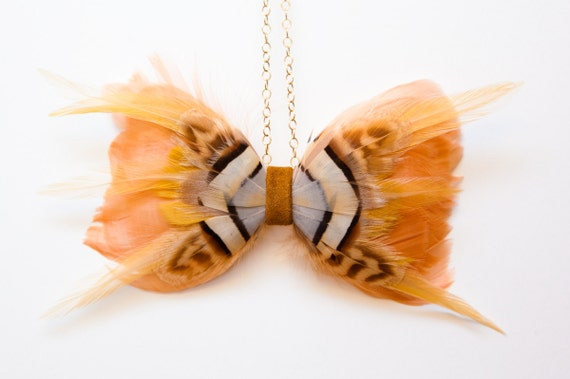 Handmade Feather Bow Tie Necklace in Peachy Pink and Gold w/ 14k Gold Chain