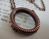 Oval Copper Tone Double Sided w/Glass Locket