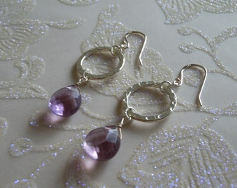 Amethyst Faceted Tear Drop Earrings