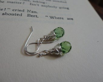 Wrapped Faceted Peridot Briolette Earrings
