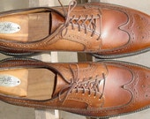 Vintage Cognac Brown Iron Age Steel Toe Wing Tip Full Brogue Lace Up Oxford Dress Shoes 11.5 A