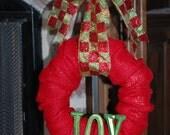 Red Burlap Wreath with Metallic Green JOY
