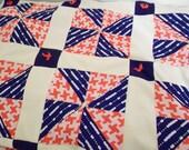 Vintage Crazy Quilt Blanket with Pocket