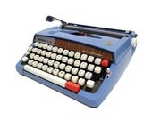 RESERVED Vintage Blue Typewriter Webster XL 747 Portable Typewriter by Brother